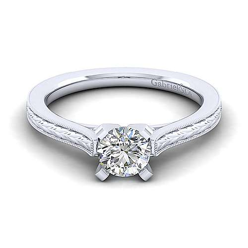 Vintage Inspired 14K White Gold Round Solitaire Engagement Ring - designed by Jewelry Designers Gabriel & Co., New York. Passion, Love & You.