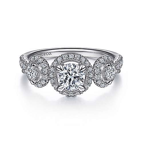 Vintage Inspired 14K White Gold Round Three Stone Halo Diamond Engagement Ring - designed by Jewelry Designers Gabriel & Co., New York. Passion, Love & You.