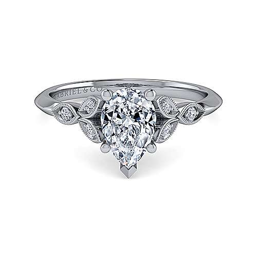 Vintage Inspired 14K White Gold Split Shank Pear Shape Diamond Engagement Ring - designed by Jewelry Designers Gabriel & Co., New York. Passion, Love & You.