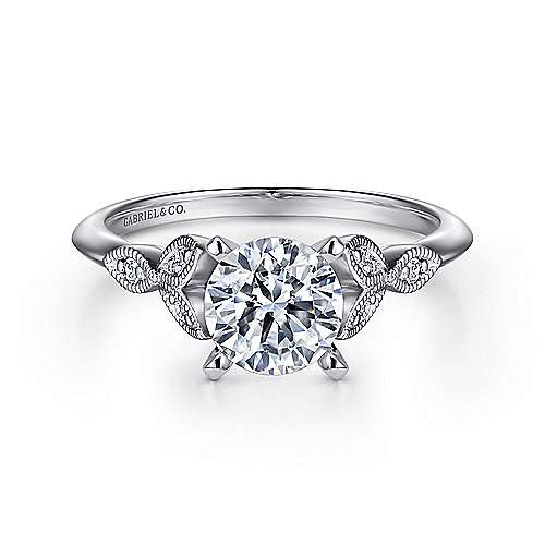 Vintage Inspired 14K White Gold Split Shank Round Diamond Engagement Ring - designed by Jewelry Designers Gabriel & Co., New York. Passion, Love & You.