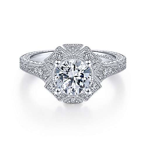 Unique 14K White Gold Art Deco Halo Diamond Engagement Ring - designed by Jewelry Designers Gabriel & Co., New York. Passion, Love & You.