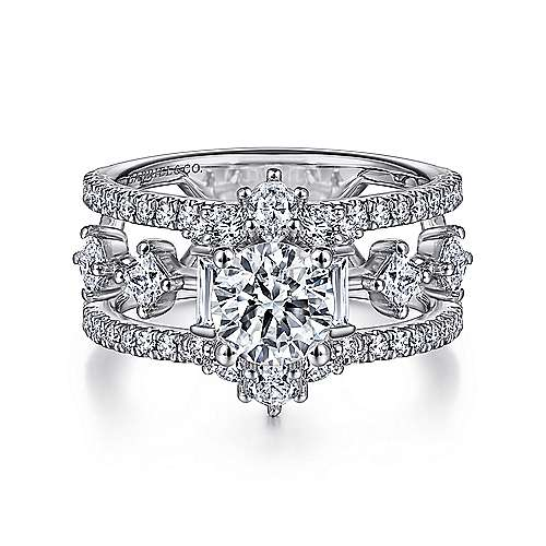 Unique 14K White Gold Halo Diamond Engagement Ring - designed by Jewelry Designers Gabriel & Co., New York. Passion, Love & You.