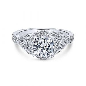 Unique 14K White Gold Vintage Inspired Diamond Halo Engagement Ring - designed by Jewelry Designers Gabriel & Co., New York. Passion, Love & You.