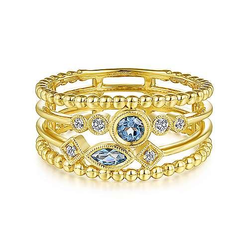 December Birthstone Blue Topaz Ring