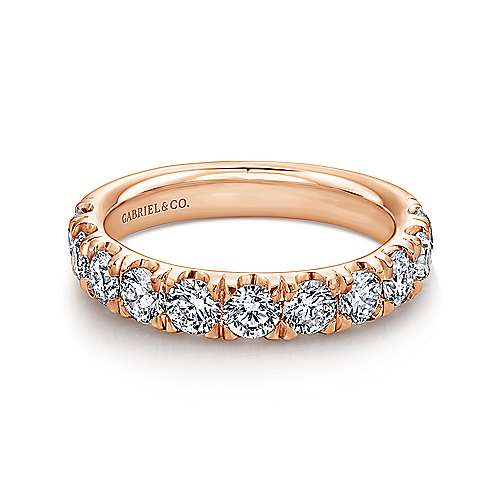 14K Rose Gold 11 Stone French Pavé Set Diamond Wedding Band - 1.41 ct - designed by Gabriel & Co., New York. Passion, Love & You.