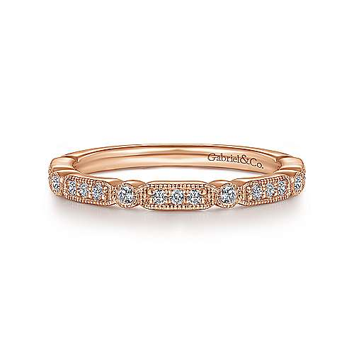 14K Rose Gold Diamond Station Stackable Anniversary Band with Millgrain - 0.18 ct - designed by Gabriel & Co., New York. Passion, Love & You.