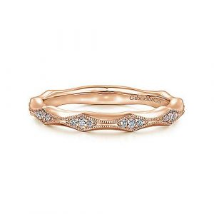 14K Rose Gold Tapering Stations Diamond Wedding and Anniversary Band by Gabriel & Co.