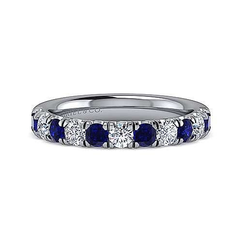 14K White Gold 11 Stone Diamond and Sapphire Anniversary Band - 0.43 ct - designed by Gabriel & Co., New York. Passion, Love & You.