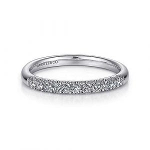 14K White Gold 11 Stone French Pavé Diamond Wedding Band 0.23 ct designed by Jewelry Designers Gabriel & Co., New York. Passion, Love & You.