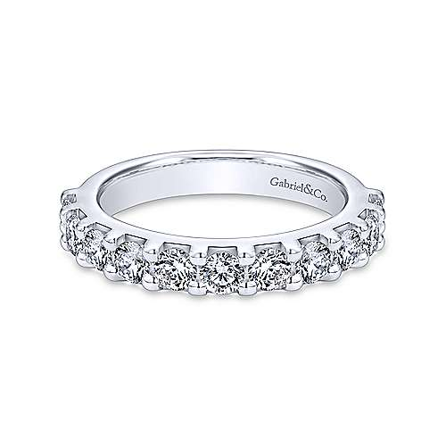 14K White Gold 11 Stone Shared Prong Set Diamond Wedding Band - 0.94 ct - designed by Gabriel & Co., New York. Passion, Love & You.