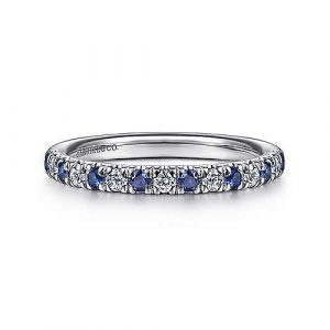 14K White Gold 15 Stone Diamond and Sapphire Anniversary Band - 0.20 ct - designed by Jewelry Designers Gabriel & Co., New York. Passion, Love & You.