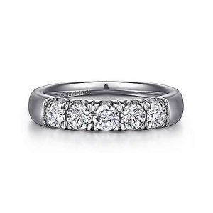 14K White Gold 5 Stone French Pavé Diamond Anniversary Band - 0.78 ct - designed by Gabriel & Co., New York. Passion, Love & You.