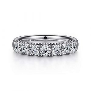 14K White Gold 7 Stone French Pavé Diamond Wedding Band - 1.10 ct - designed by Gabriel & Co., New York. Passion, Love & You.
