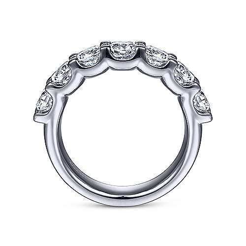 14K White Gold 7 Stone Shared Prong Round Diamond Anniversary Band 2.00 ct designed by Gabriel & Co., New York. Passion, Love & You.
