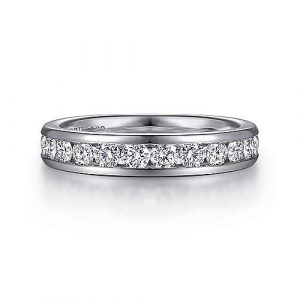 14K White Gold Channel Set Diamond Wedding Band - 0.97 ct - designed by Jewelry Designers Gabriel & Co., New York. Passion, Love & You.