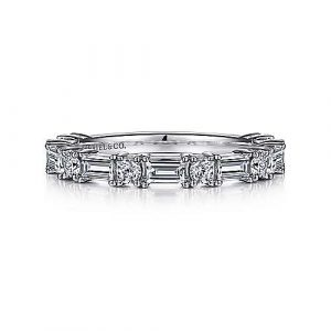 14K White Gold Diamond Anniversary Band - 0.91 ct - designed by Jewelry Designers Gabriel & Co., New York. Passion, Love & You.