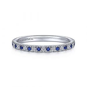 14K White Gold Diamond and Sapphire Anniversary Band - 0.16 ct - designed by Jewelry Designers Gabriel & Co., New York. Passion, Love & You.
