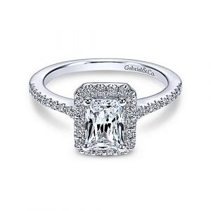 14K White Gold Emerald Halo Diamond Engagement Ring - designed by Jewelry Designers Gabriel & Co., New York. Passion, Love & You.