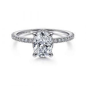 14K White Gold Hidden Halo Oval Diamond Engagement Ring - designed by Jewelry Designers Gabriel & Co., New York. Passion, Love & You.