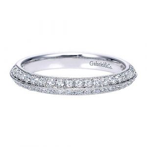14K White Gold Knife Edge Diamond Anniversary Band with Millgrain - 0.42 ct - designed by Gabriel & Co., New York. Passion, Love & You.