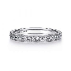 14K White Gold Micro Pavé Channel Diamond Wedding Band with Millgrain - 0.24 ct - designed by Gabriel & Co., New York. Passion, Love & You.