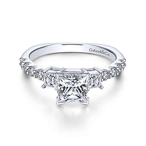 14K White Gold Princess Cut Three Stone Diamond Engagement Ring - designed by Jewelry Designers Gabriel & Co., New York. Passion, Love & You.