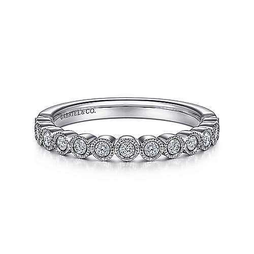 14K White Gold Round 13 Stone Diamond Anniversary Band - 0.22 ct - designed by Gabriel & Co., New York. Passion, Love & You.