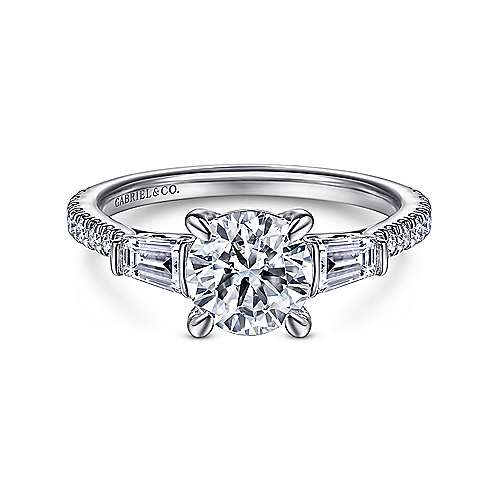 14K White Gold Round 3 Stone Diamond Engagement Ring - designed by Jewelry Designers Gabriel & Co., New York. Passion, Love & You.