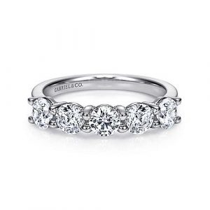 14K White Gold Round 5 Stone Shared Prong Diamond Anniversary Band - 1.81 ct - designed by Gabriel & Co., New York. Passion, Love & You.