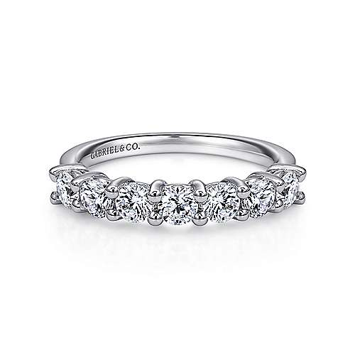 14K White Gold Round 7 Stone Shared Prong Diamond Anniversary Band 1.00 ct designed by Gabriel & Co., New York. Passion, Love & You.