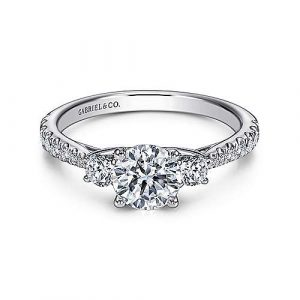 14K White Gold Round Three Stone Diamond Engagement Ring - designed by Jewelry Designers Gabriel & Co., New York. Passion, Love & You.
