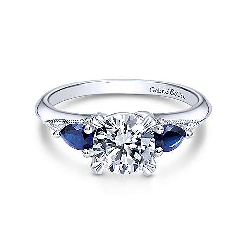 14K White Gold Sapphire and Diamond Engagement Ring - designed by Jewelry Designers Gabriel & Co., New York. Passion, Love & You.