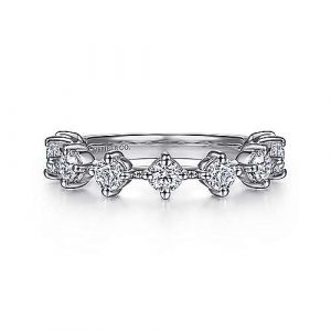 14K White Gold Single Prong Diamond Anniversary Band - 1.03 ct - designed by Jewelry Designers Gabriel & Co., New York. Passion, Love & You.