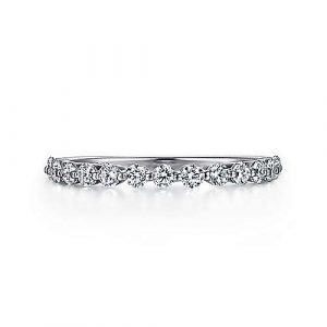 14K White Gold Single Prong Diamond Wedding Band 0.50 ct designed by Jewelry Designers Gabriel & Co., New York. Passion, Love & You.