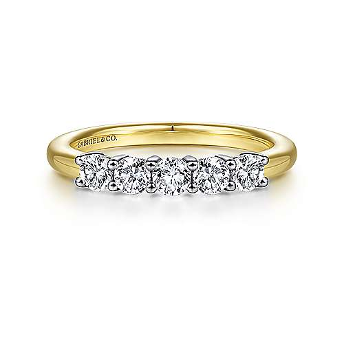14K White-Yellow Gold 5 Stone Diamond Anniversary Band - 0.52 ct - designed by Gabriel & Co., New York. Passion, Love & You.