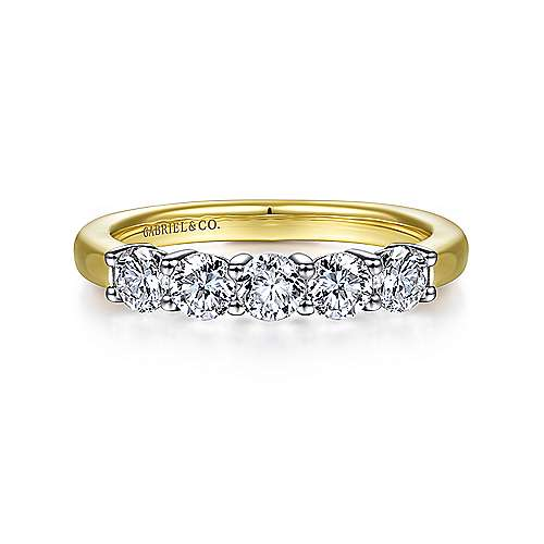 14K White-Yellow Gold 5 Stone Diamond Anniversary Band - 0.78 ct - designed by Gabriel & Co., New York. Passion, Love & You.