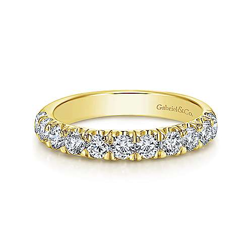 14K Yellow Gold 11 Stone French Pavé Diamond Wedding Band - 0.94 ct - designed by Gabriel & Co., New York. Passion, Love & You.