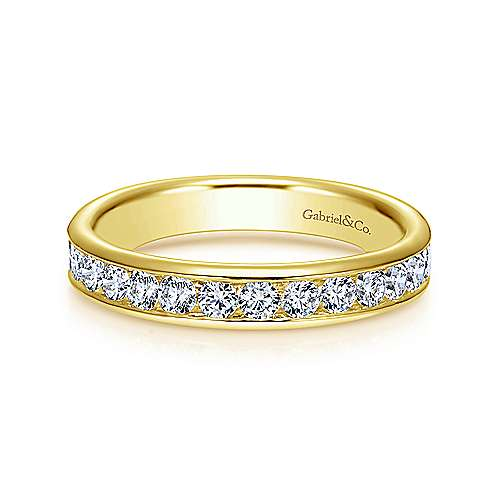 14K Yellow Gold Diamond Anniversary Band 0.73 ct designed by Jewelry Designers Gabriel & Co., New York. Passion, Love & You.