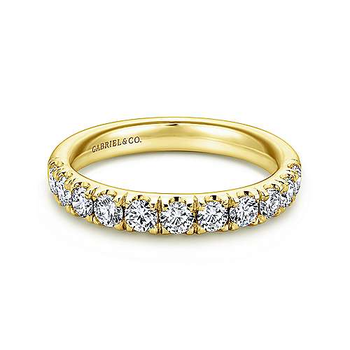 14K Yellow Gold French Pavé Set Diamond Wedding Band - 0.72 ct - designed by Jewelry Designers Gabriel & Co., New York. Passion, Love & You.