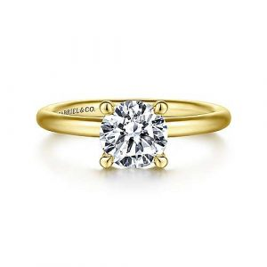 14K Yellow Gold Round Solitaire Engagement Ring - designed by Jewelry Designers Gabriel & Co., New York. Passion, Love & You.