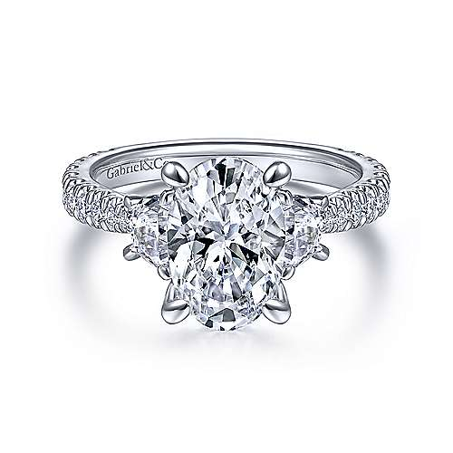 18K White Gold Oval Three Stone Diamond Engagement Ring - designed by Jewelry Designers Gabriel & Co., New York. Passion, Love & You.