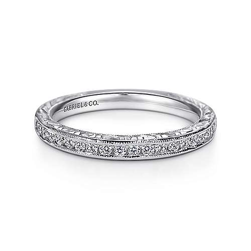 Vintage 14K White Gold Hand Engraved Channel Set Diamond Wedding Band - 0.24 ctm - designed by Gabriel & Co., New York. Passion, Love & You.