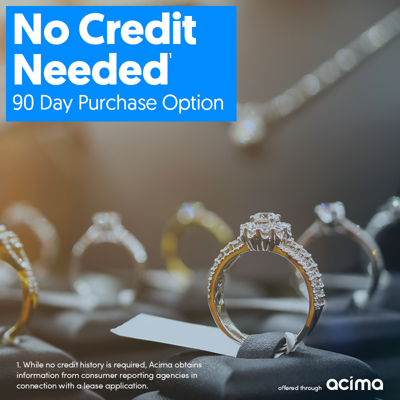 acima, jewelry leasing, no credit needed, 90 day purchase option.