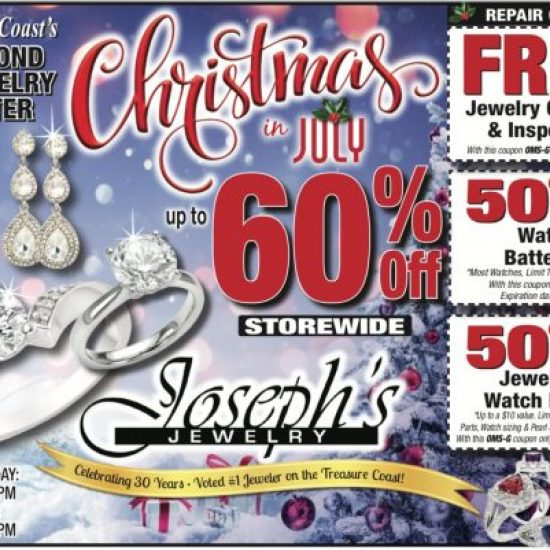Christmas in July coupon, Joseph's Fine Jewelry Store and Watch Repair Stuart FL